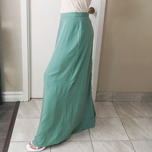 Satin Maxi Skirt Pistachio Green Size M